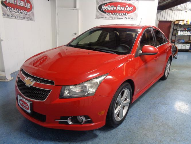2012 RED Chevrolet Cruze 2LT (1G1PG5SC7C7) with an 1.4L L4 DOHC 16V TURBO engine, 6-Speed Automatic transmission, located at 900 East Davis Street, Conroe, TX, 77301, (936) 539-9909, 30.314880, -95.446770 - Photo #0