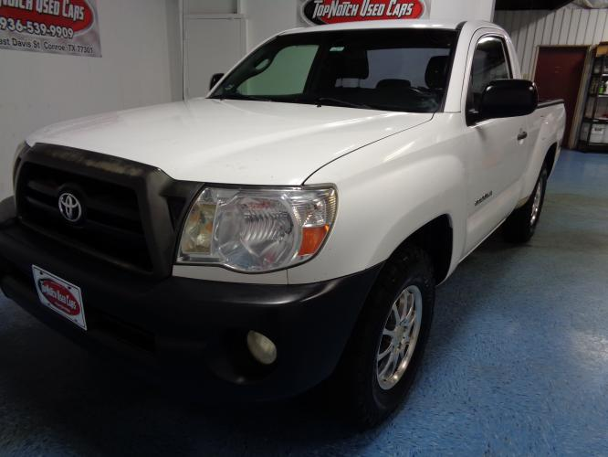 2008 WHITE Toyota Tacoma Regular Cab 2WD (5TENX22N18Z) with an 2.7L L4 DOHC 16V engine, 5-Speed Manual Overdrive transmission, located at 900 East Davis Street, Conroe, TX, 77301, (936) 539-9909, 30.314880, -95.446770 - Photo #0